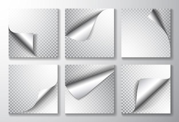 角と影が丸まった紙のページ。
