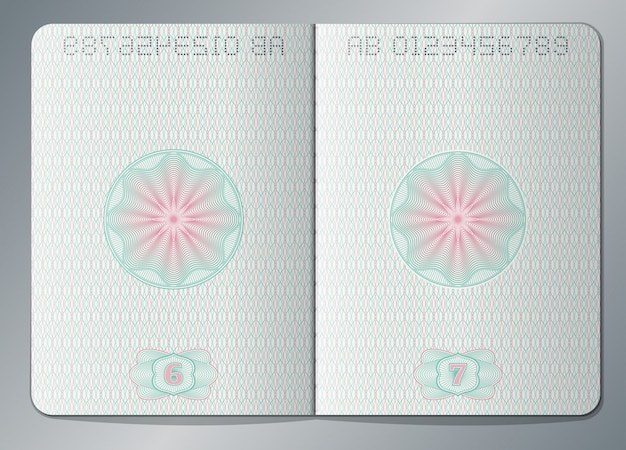Paper passport open blank pages template. passport page paper with watermark illustration