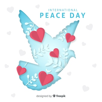 Paper peace day background with dove