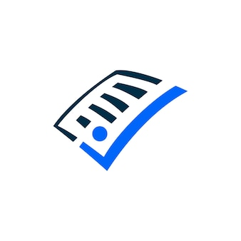 Paper people check mark logo vector icon illustration