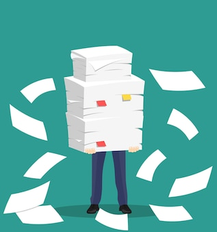 Paper pile with a man. vector illustration in flat style. office routine