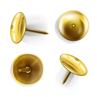 Paper pin illustration of 3d realistic golden or brass metal pins or thumbtack for memo notes