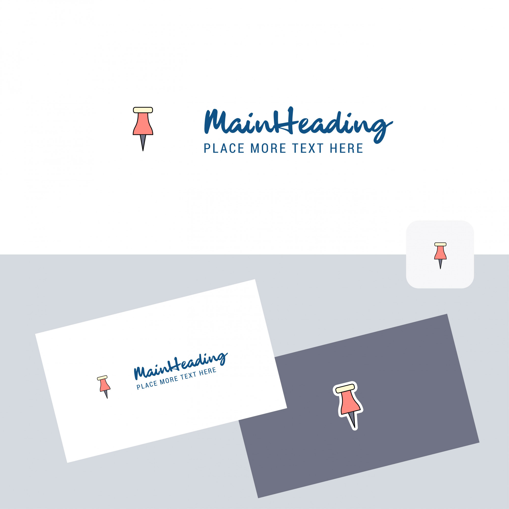 Paper pin vector logo with business card