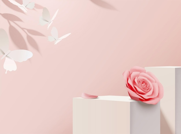 Paper pink rose decorative with stage in 3d illustration