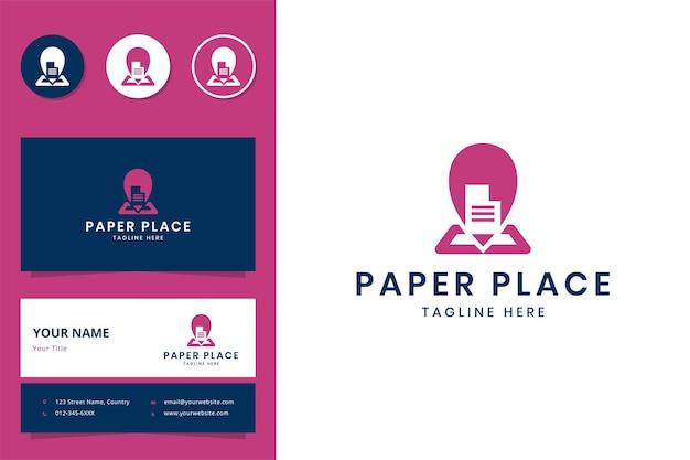 紙の場所のネガティブスペースのロゴデザイン