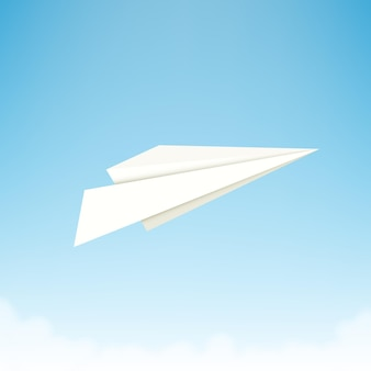 Paper plane against sky with clouds.