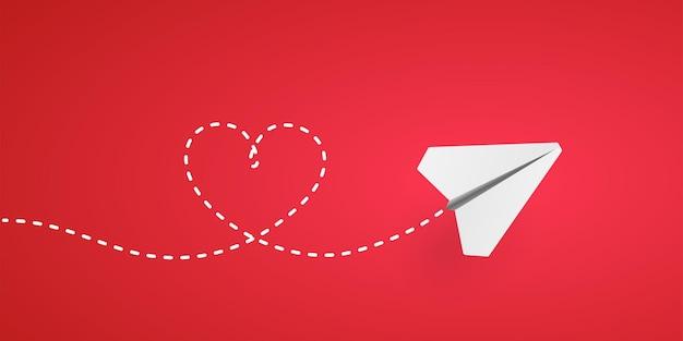 紙飛行機とハートの形のパスの図