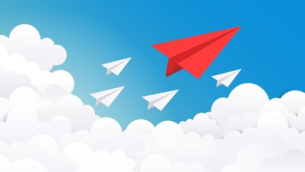 종이 비행기 배경. 창의적인 개념 아이디어, 비즈니스 성공 및 지도자 비전 최소한의 그림.