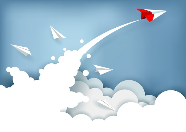 Paper plane charged up to the sky while flying above a cloud. business finance success. illustration vector