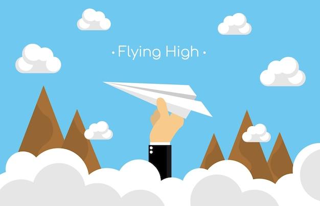 산에 도착하는 종이 비행기