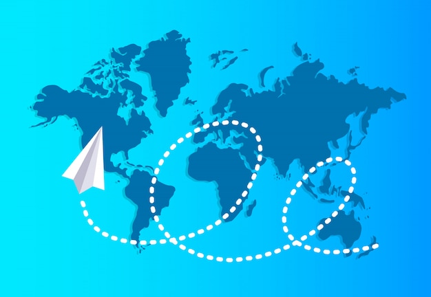Paper plane flying over a world map reserves a dashed trace.