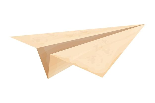 白い背景に分離された漫画スタイルの羊皮紙ヴィンテージからの紙飛行機折り紙シンプル