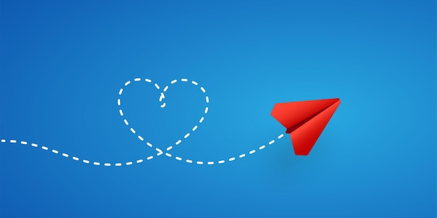 Paper plane and heart shape path illustration