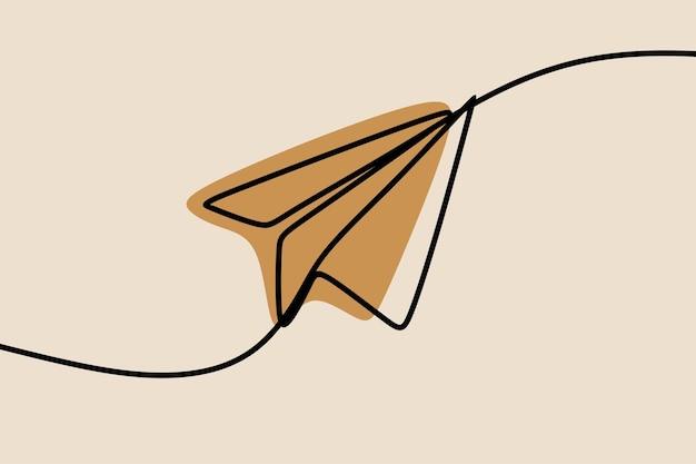 紙飛行機ワンライン連続線画