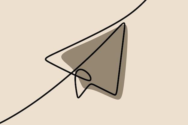Бумажный самолетик oneline непрерывная штриховая графика
