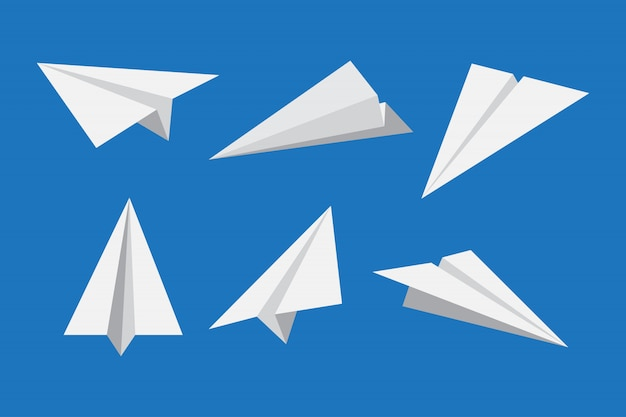 Paper plane or origami airplane icon set
