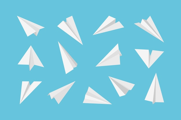 Paper plane. rockets jet aircraft air transport from paper 3d origami style collection.