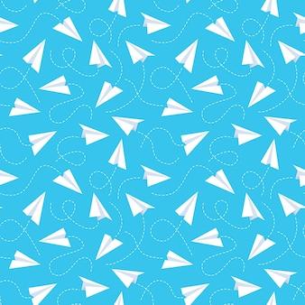 종이 비행기 완벽 한 패턴입니다. 흰색 수제 비행 비행기와 점선 트랙, 파란색 배경. 크리에이 티브 디자인 섬유, 포장, 벽지 벡터 텍스처
