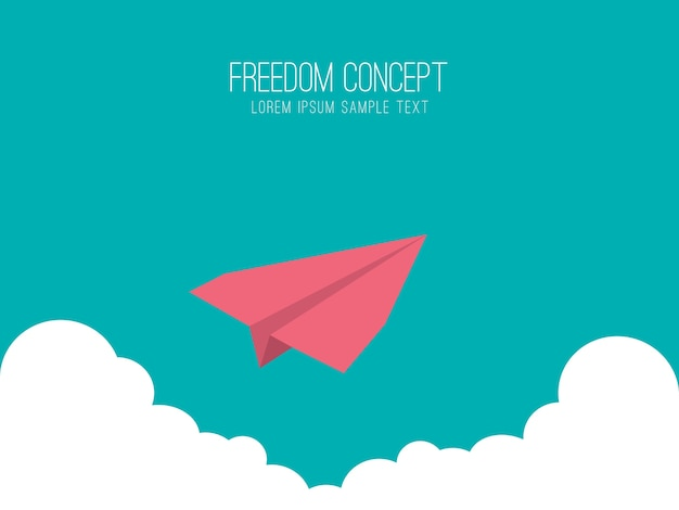Paper plane in the sky, freedom concept.