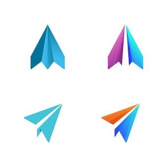 紙飛行機ベクトルアイコンデザインイラストテンプレート