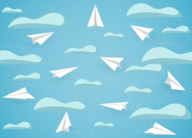 Paper plane white competition charged up to the sky while flying above a cloud.