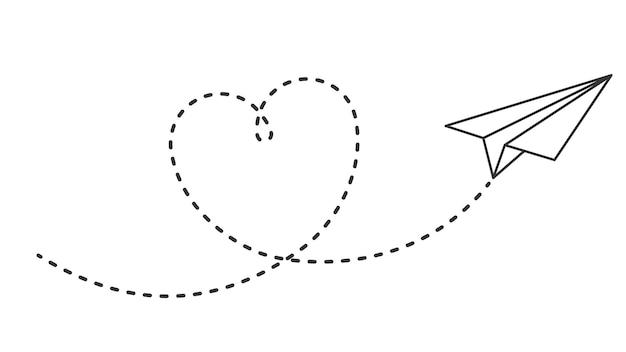 ハートパスのある紙飛行機。ハートの点線の航空路、ロマンチックなまたはメッセージバレンタインデーカードベクトルデザインで飛んでいる飛行機。飛行機の飛行、飛行機の輸送、航空会社の旅行のイラストが大好き