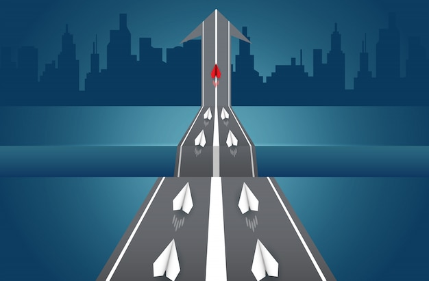 Paper planes are competing on road go to destination. leadership.