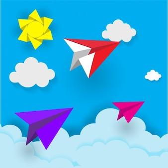 紙飛行機の背景デザイン