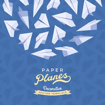 Paper planes on blue