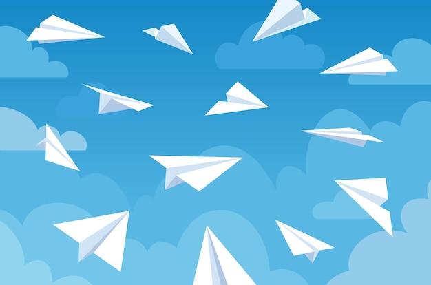 푸른 하늘에 종이 비행기. 다른 각도와 방향에서 구름에 흰색 비행 비행기. 팀워크, 메시지 또는 여행 벡터 개념입니다. 목표물을 공격하고 메일을 배달합니다. 혁신적인 솔루션