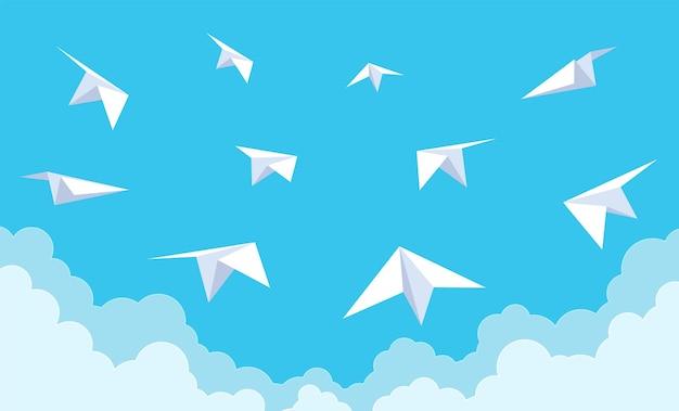 푸른 하늘에 종이 비행기. 구름, 새로운 시작 아이디어 및 팀워크 개념, 항공 비행, 여행 개념 만화 스타일 벡터에서 비행하는 비행기의 흰색 종이 접기 그룹