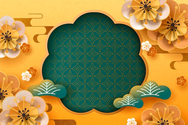 Paper plum flowers and pine leaves on golden background, copy space for greeting words
