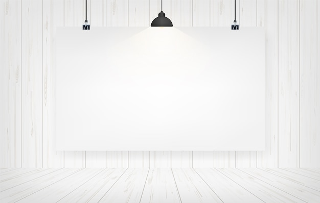 Paper poster hanging in wood room background.
