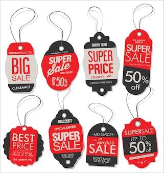 Бумажный ценник в стиле ретро, винтажный дизайн, красно-черная коллекция