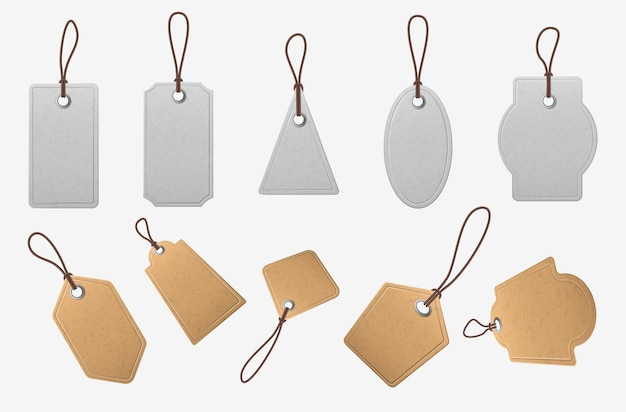 Paper price tags. realistic blank cardboard labels with ropes, vintage white and brown shopping labels, pricing tag mockup vector set. realistic tag banner for price, collection cardboard illustration