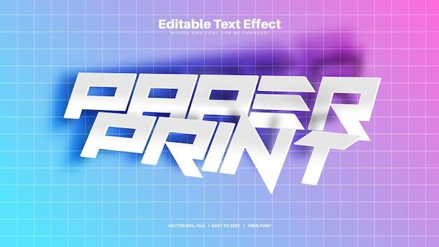 Текстовый эффект печати на бумаге