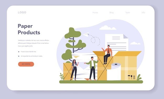 Веб-шаблон или целевая страница для производства бумаги и деревообрабатывающей промышленности.