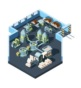 製紙工場。木材プレス業界のコンセプトアイソメトリックから紙を作るための機械を備えた工業用インテリア。イラスト工場加工、産業機械生産