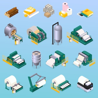Paper production icons set with wood and press symbols isometric isolated