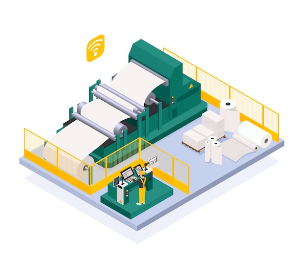 Paper production industry with newspaper and press symbols isometric