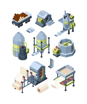 Paper production set. industrial making paper from wood plants industrial mill pulp paper hone for print house vector isometric pictures. equipment hardware press, manufacturing factory illustration
