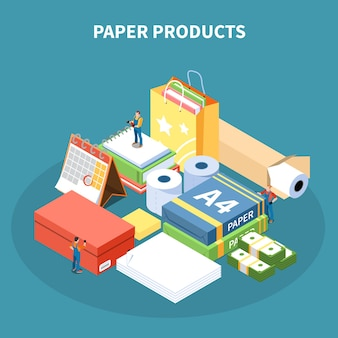 Paper products isometric illustration with  package box school supplies toilet paper rolls monetary denomination