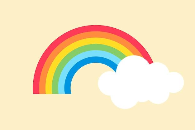 Elemento arcobaleno di carta, vettore di clipart meteo carino su sfondo giallo