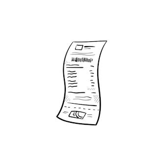 종이 영수증 손으로 그린 개요 낙서 아이콘. 비즈니스, 상점 지불 및 영수증, 상점 가격 확인 개념