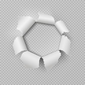 紙の破れ穴。現実的な引き裂かれた不規則なギャップのポスターの損傷エッジは、フレームの透明な弾痕をリッピングしました。リップボーダー要素