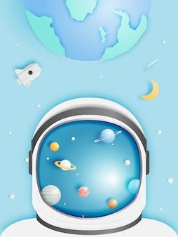 ペーパーロケットと太陽系のペーパーアート。