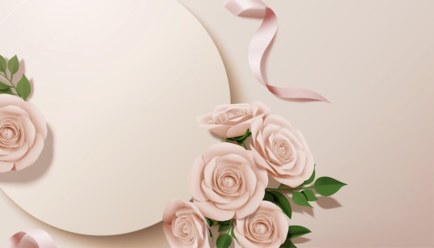 Paper rose with round background in 3d illustration