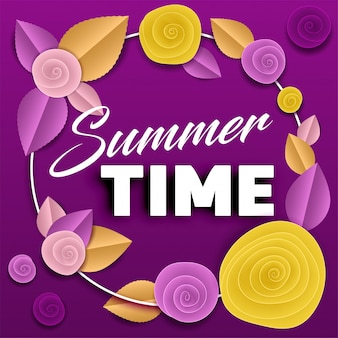 Paper roses purple poster summer time