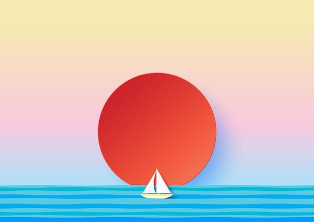 海の紙アートスタイルで紙の帆船と赤い太陽 Premiumベクター
