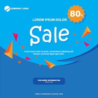 Paper sale banner flat blue